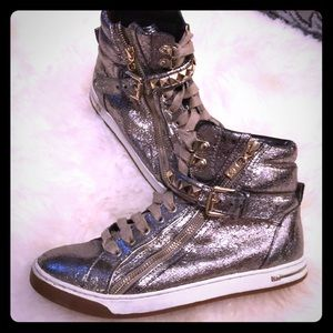 Micheal Kors Gold Leather hightop sneakers